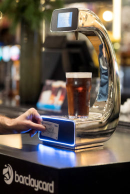 Self-service beer pump using contactless payment.